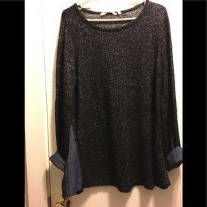 Soft Surroundings PXL gray sweater denim inserts